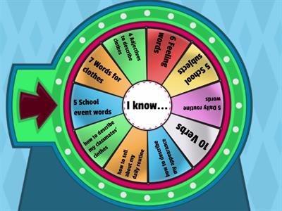 Name the words or phrases in the random wheel