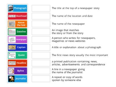 Newspaper vocabulary KS2