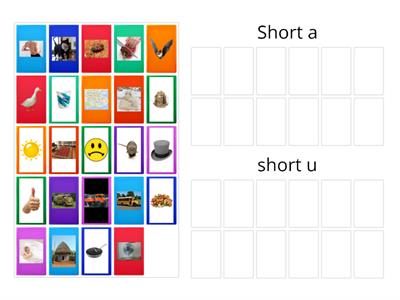 Sort the short vowel u and a word pictures.