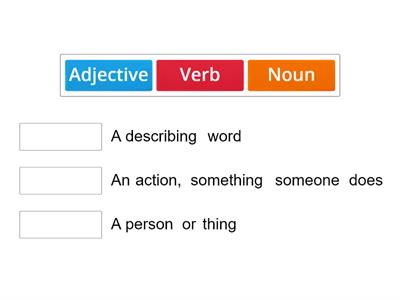Noun, verb, adjective match up