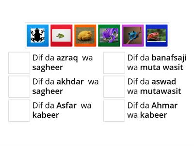 Describe the frogs in Arabic