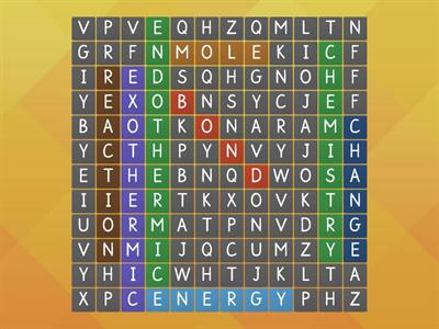 Energy Changes Wordsearch