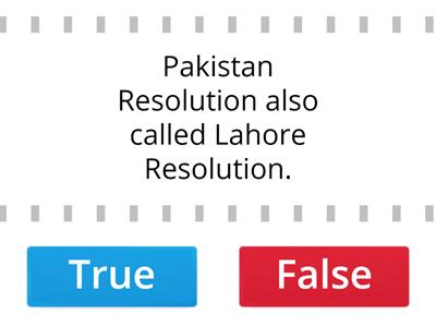 True or false About Pakistan Day