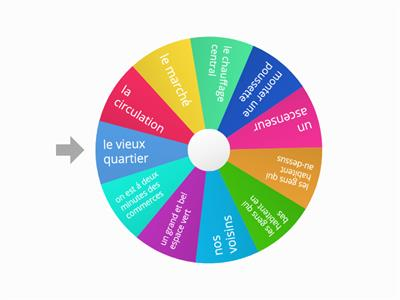 SPIN WHEEL Yr 10  FRENCH VOCAB for EN VILLE