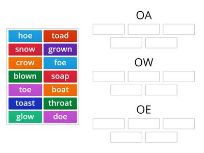 oa, ow and oe word sort