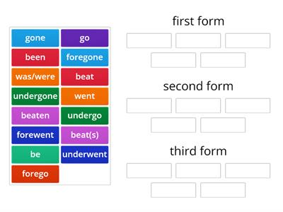 Irregular verbs - group 10 - (2nd form is different. 3rd form=1st form+n))