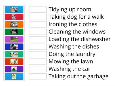Match the chores with the correct pictures.