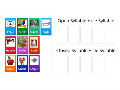 Sort Consonant + le words by first syllable: open or closed