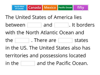 The US. Comprehension activity.