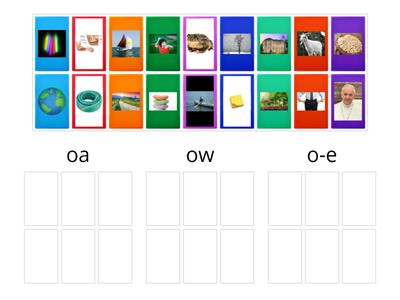 oa, ow, or oe picture sort