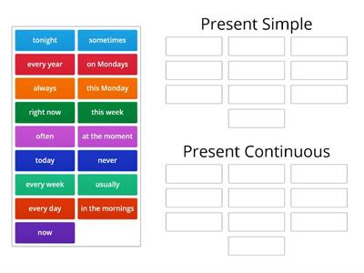 Present Simple and Continuous - time expressions