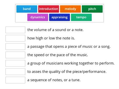 Music - Key words - Year 2