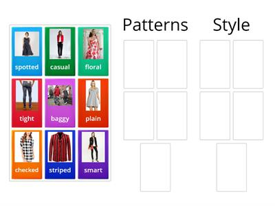 Describing Clothes. Group Patterns & Styles