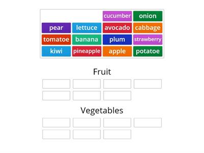 Divide words into fruit and vegetables