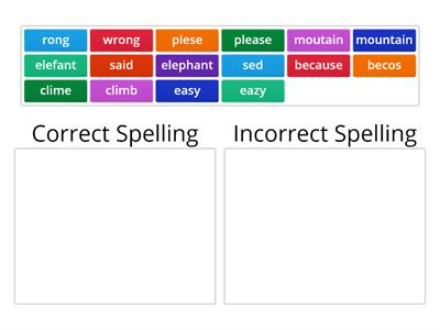 correct/incorrect spelling