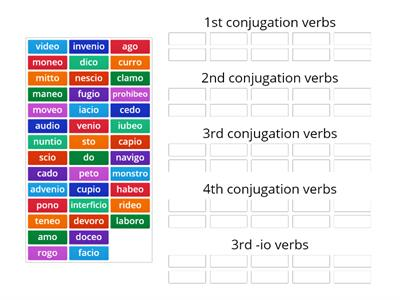 Verb conjugation sort