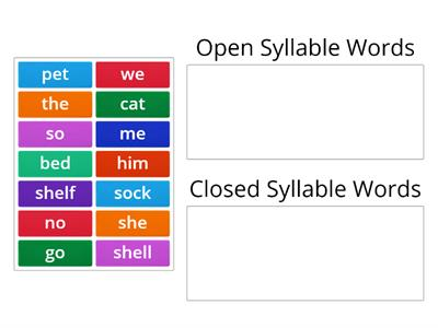 Closed vs. Open Syllable Words