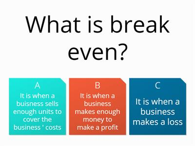 Break Even and Costs Business Level 2