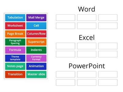 Match the Software - Word Excel PowerPoint