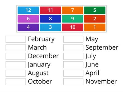 Match the Months Up in Order