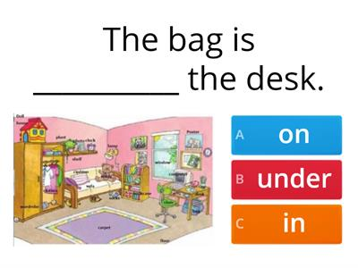 IN, ON, UNDER: Prepositions of place