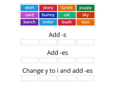 Adding s, es, or change y to i and add es