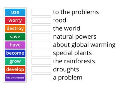 Global Issues Collocations Real Life Elementary Unit 9 p 74