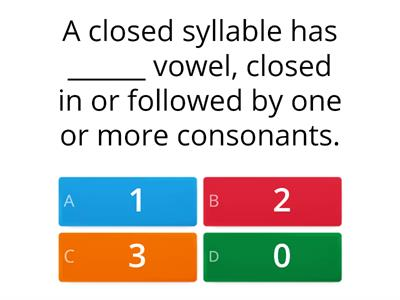 Closed Syllable Quiz
