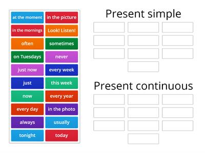Signal words (present simple x present continuous)