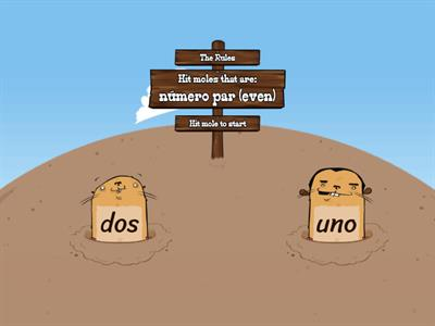 Hit the even numbered moles! (Spanish)