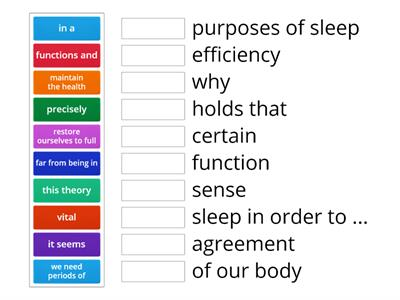 CAE use of english part 1 collocations (sleep)