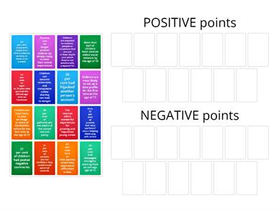 Group sort 1 - positive and negative points in the Daily Mail article