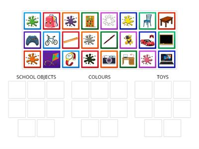 COLOURS, SCHOOL OBJECTS, TOYS