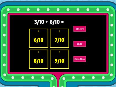Fraction Addition - Game Show Version