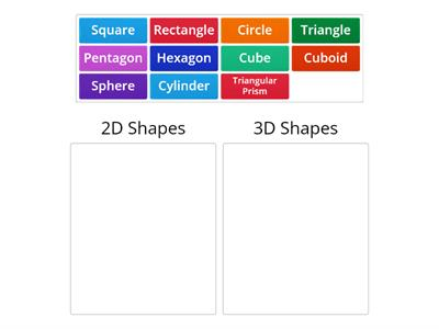 Categorize shapes 2D and 3D