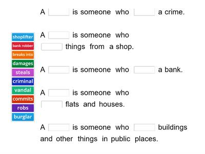 CRIME English Class B1 - definitions