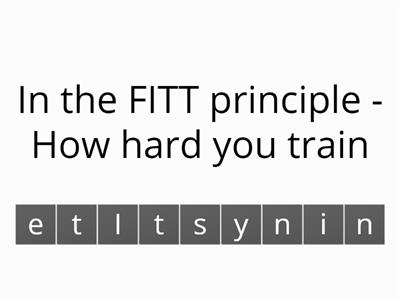 Principles of training - Anagram