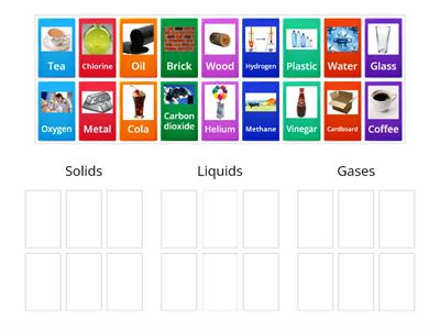 Solid, liquid and gas - materials and elements