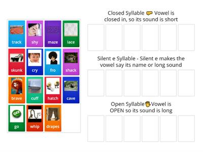 Sorting Closed,Open,Silent e Syllables