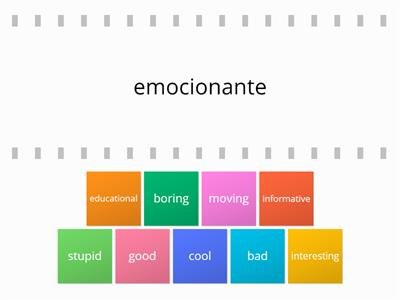 Spanish adjectives flip tiles