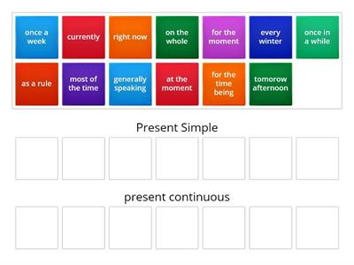 time phrases- present simple and continuous