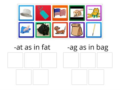 Word Family Sort -at  -ag
