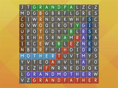 Find more family words in the word search