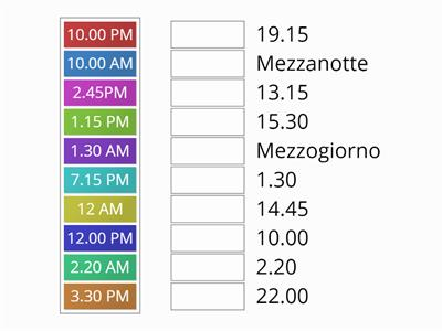 Match the time (English- Italian)