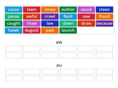 /aw/ and /au/ Word Sort