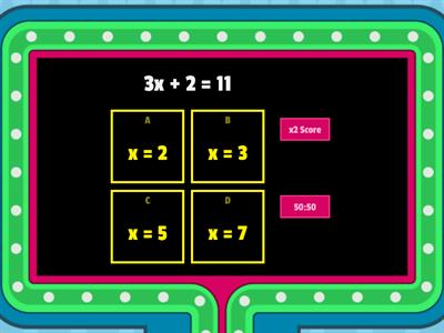 Two Step Equations- Gameshow