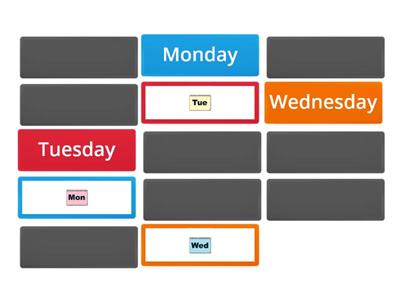 IE2 unit 1 - days of the week