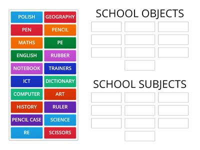 school subjects vs school objects