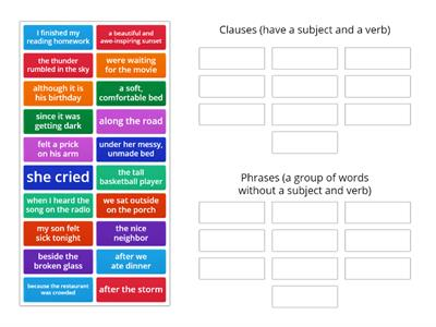 Clauses and Phrases Sorting Activity