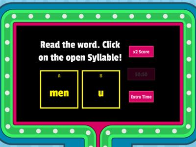 Find the Open Syllable!